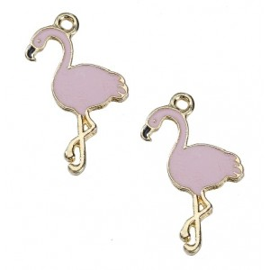 Bedel flamingo licht roze - gold plated