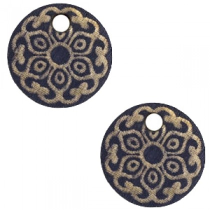 Houten bedel mandala 12mm Dark blue