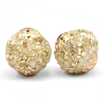 Bohemian kraal 14mm Gold beige crystal-gold