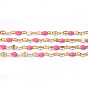 RVS jasseron 2.5x2mm goud hot pink, 49 cm
