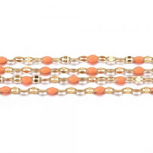 RVS jasseron 2.5x2mm goud light salmon, 49 cm