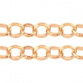 Jasseron 2mm rond DQ Rose Gold plated duurzame plating, per 15 cm