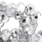 Top facet 4x3mm Crystal - half silver