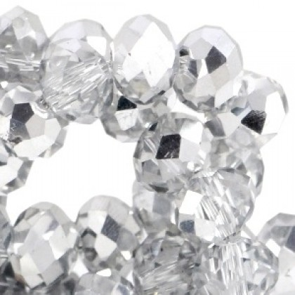 Top facet 4x3mm Crystal - half silver 20 stuks