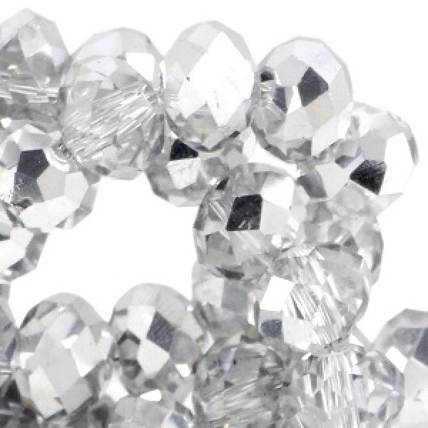Top facet 4x3mm Crystal - half silver 50 stuks
