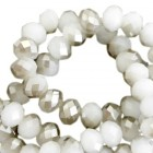 Top Facet 4x3mm Light grey pearl shine