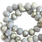 Top Facet 4x3mm Grey half pearl shine