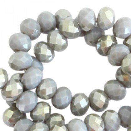 Top Facet kralen 4x3mm Grey shadow opal-half champagne pearl shine, per streng