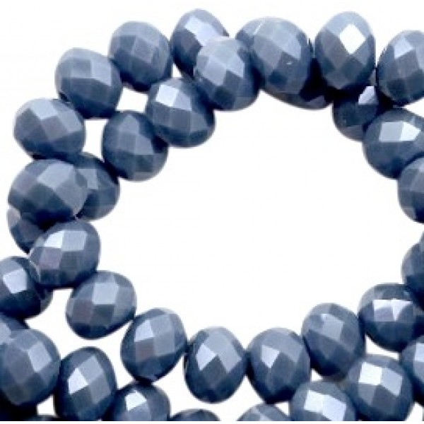 Top Facet 6x4mm Air force blue-pearl per streng