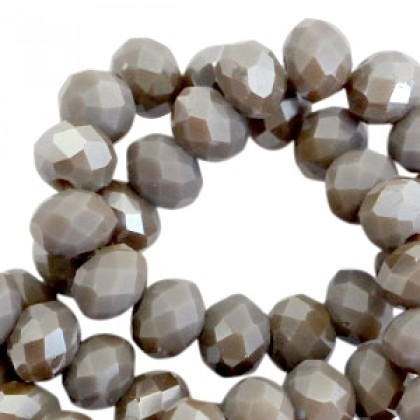 Top Facet kralen 6x4mm Grey fossil-half pearl high shine, per streng