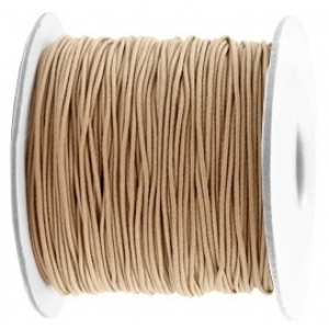 Gekleurd elastiek 0.8mm Taupe brown, 5 meter