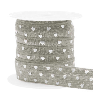 Elastisch lint hearts hearts taupe silver, 49cm