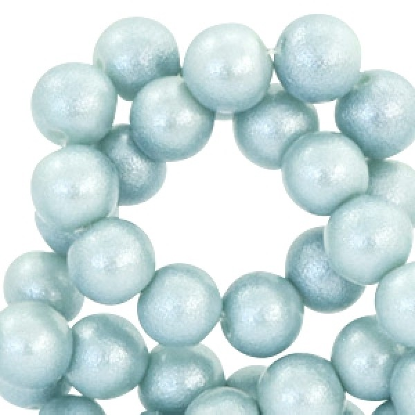 Glaskraal 6mm pearl glitter Light haze blue 35 stuks
