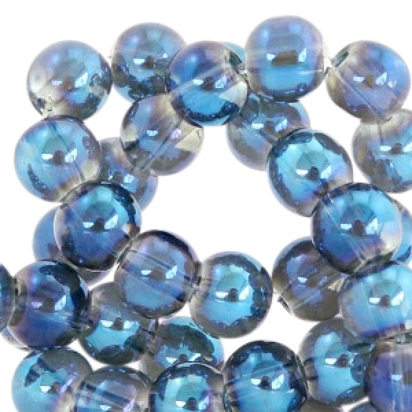 Glaskraal 6mm Greige-blue diamond coating 35 stuks