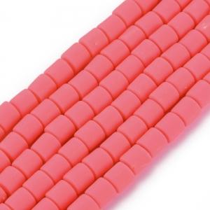 Katsuki 6mm tubes deep pink, volle string ca. 60 stuks