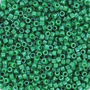 Miyuki Delica's 11/0 2mm opaque dyed green DB0656, 4 gram