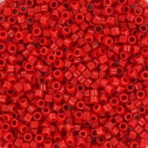 Miyuki Delica's 11/0 2mm opaque red DB0723, 4 gram