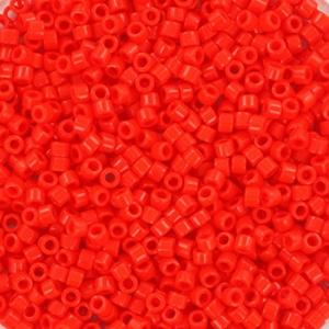 Miyuki Delica's 11/0 2mm opaque vermillion red DB0727, 4 gram