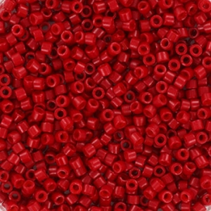Miyuki Delica's 11/0 2mm opaque sf dyed bright red DB0791, 4 gram