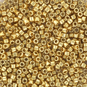 Miyuki Delica's 11/0 2mm Duracoat galvanized pale gold DB2501, 4 gram