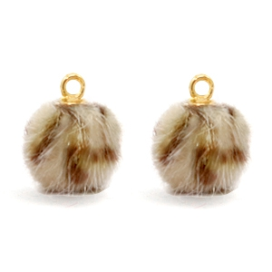 Pompom bedel leopard brown goud 12mm