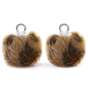 Pompom bedel leopard brown silver 12mm