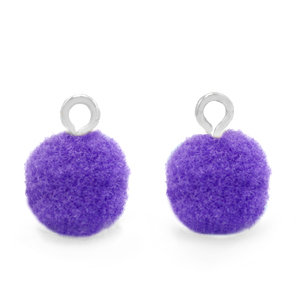 Pompom bedel silver purple 10mm