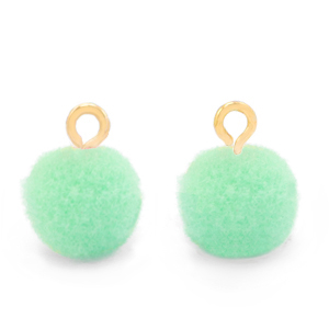 Pompom bedel gold green ash 10mm