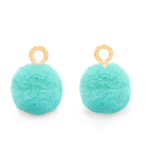 Pompom bedel gold icy morn blue 10mm