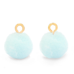 Pompom bedel gold pastel blue 10mm