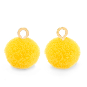Pompom bedel gold sunshine yellow 10mm