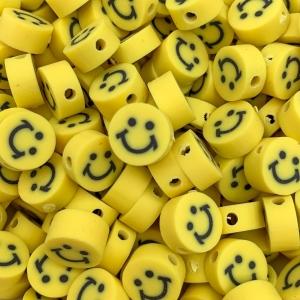 Polymeer kralen smiley geel, 5 stuks