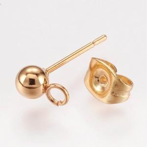 RVS oorbellen met oog goud, per paar