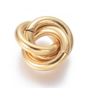 RVS triple ringen tussenstuk goud 13mm, per set