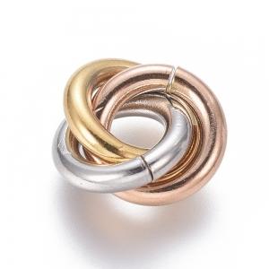 RVS triple ring tussenstuk multi colour, per set