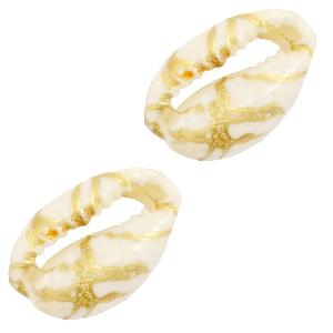 Kauri gold line off white, per stuk