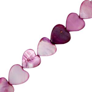 Kraal schelp hartje purple, per stuk