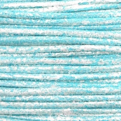 Waxkoord metallic 1mm Pacific blue, per meter