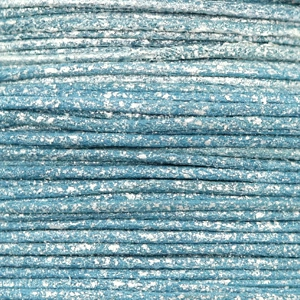 Waxkoord metallic 1mm Cool blue, per meter