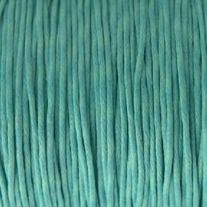 Waxkoord 1mm turquoise, 5 meter