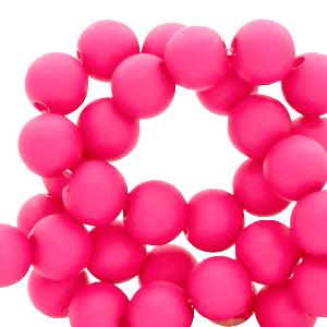 Acryl kralen 4mm matt fluor pink, 5 gram