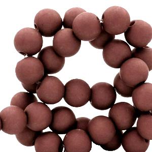 Acryl kralen 4mm matt fired brick brown, 5 gram