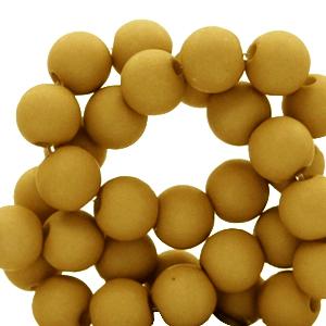 Acryl kralen 4mm matt golden brown curry, 5 gram
