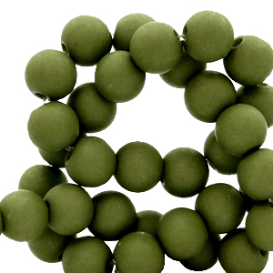 Acryl kralen 6mm dusty olive green, 10 gram
