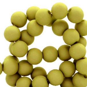 Acryl kralen 4mm olive green, 5 gram