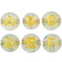 Letterkralen acryl crackled transparant gold, set ca. 680 stuks