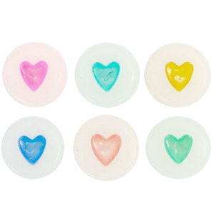Letterkralen acryl hartjes multicolor, 6 stuks