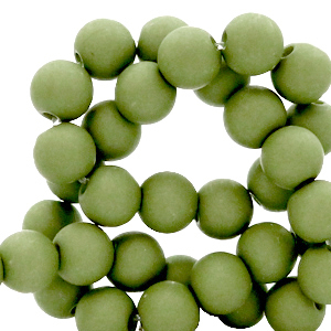 Acryl kralen 6mm green olive, 10 gram