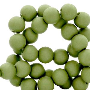 Acryl kralen 4mm green olive, 5 gram
