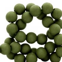 Acryl kralen 6mm dusty olive, 10 gram